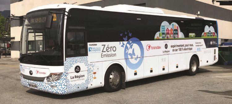 transdev aura, mobilté, écologie, éléctrique, autocar