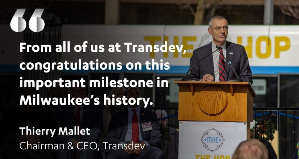 Transdev USA Milwaukee The Hop streetcar tramway inauguration launch Thierry Mallet speech