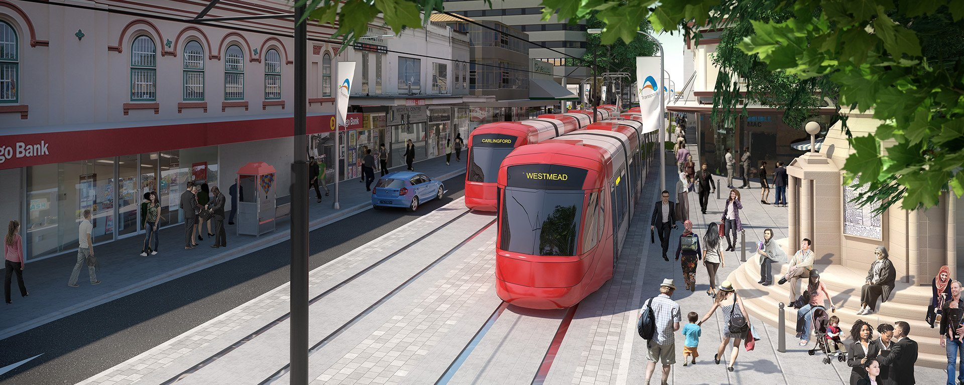 Parramatta red Light Rail Macquarie Street Australia tramway rouge Transdev mobility company passengers passagers