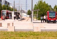 Transdev Citura Reims tramway rouge navette voiture autonome transports public passagers intermodal