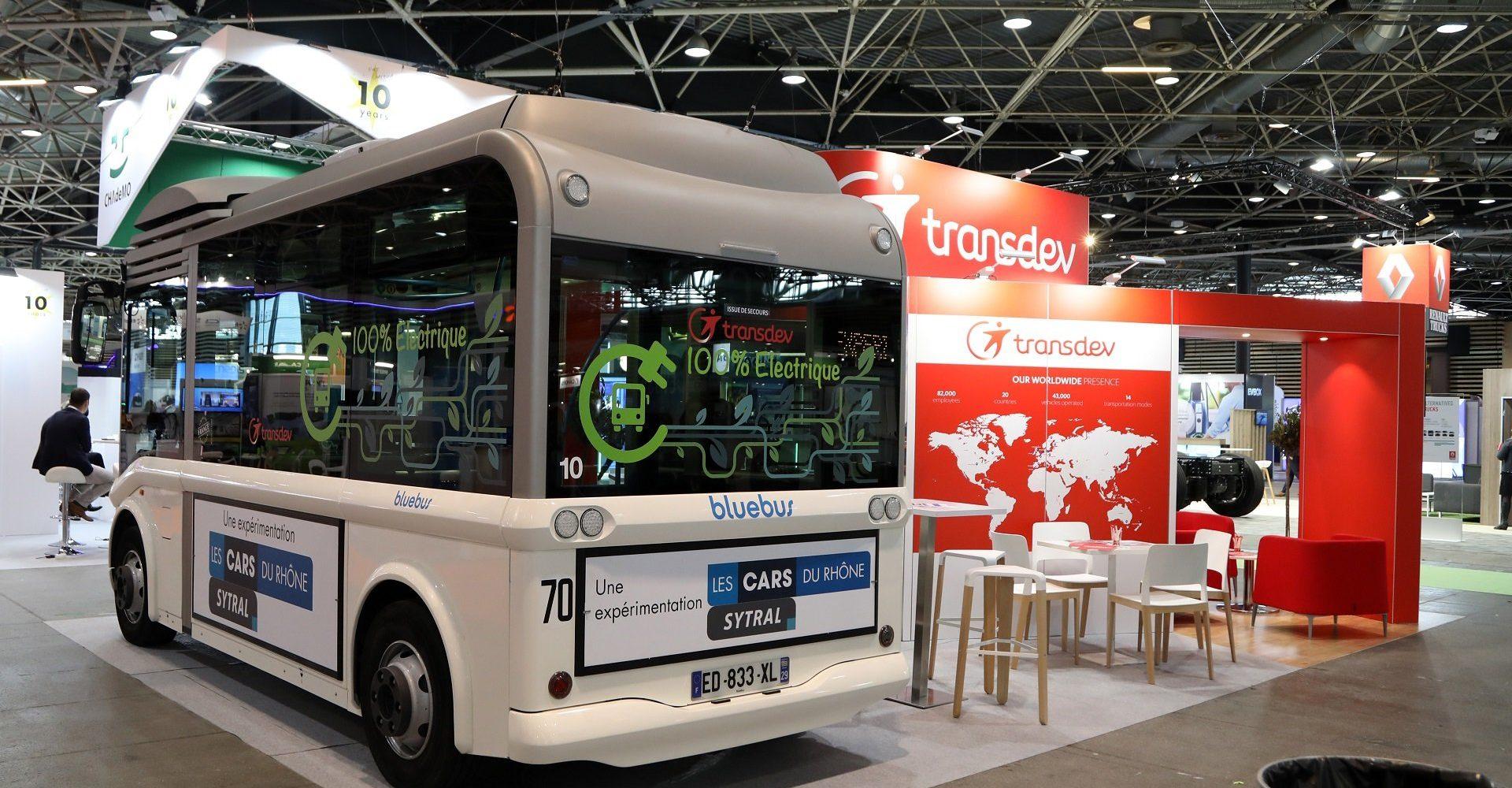 Transdev mobility company stand salon EVS Lyon navette bolloré bluebus mobilité propre électrique