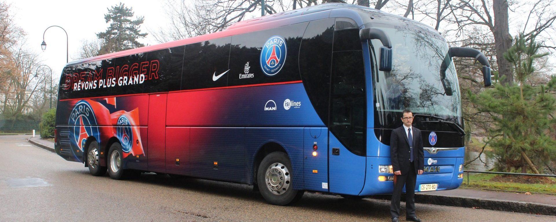 Transdev isilines autocar équipe supporters PSG transporteur officiel évenementiel