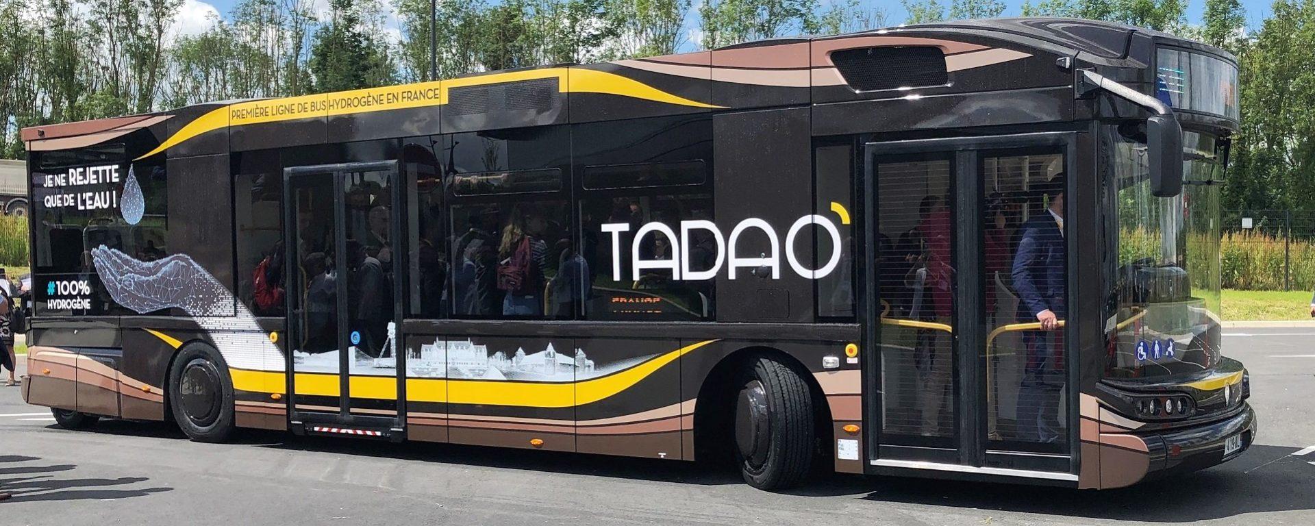 bus électrique hydrogène tadao Transdev transport marron