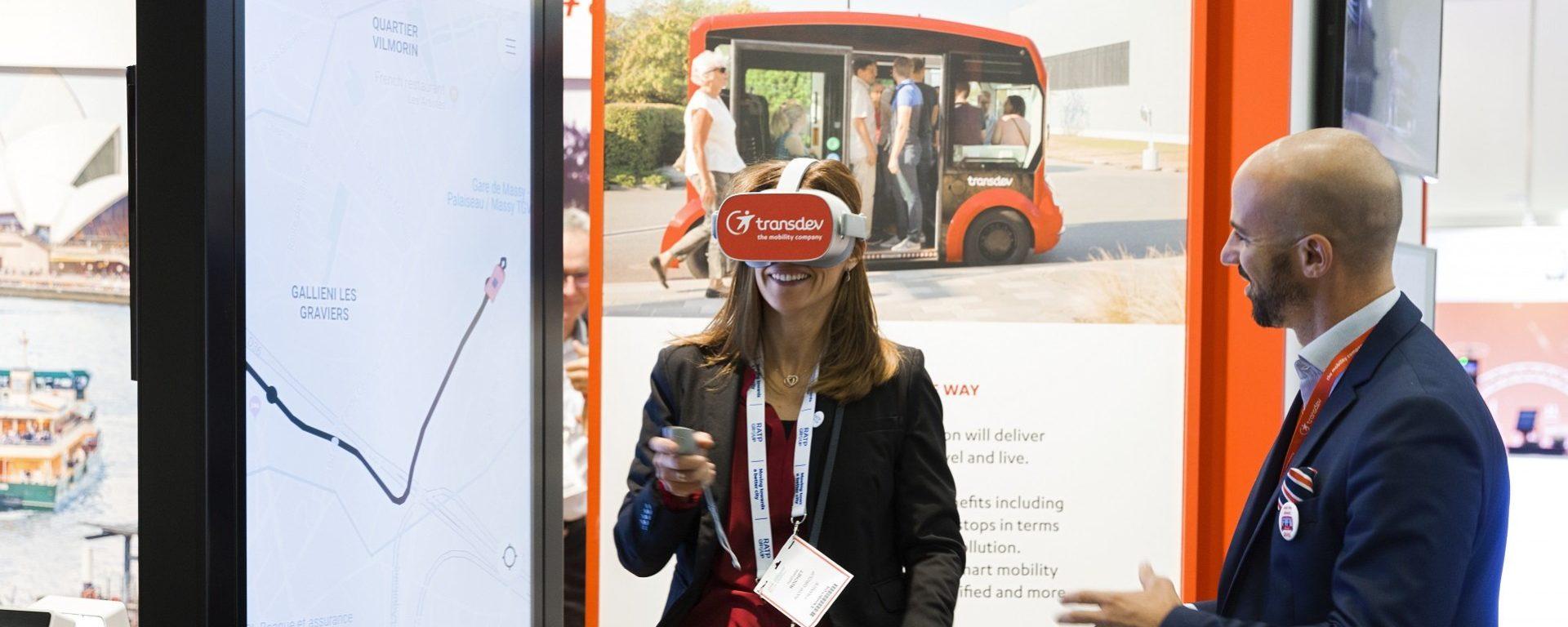 Transdev booth UITP 2019 Stockholm Stand salon animation casque réalité virtuelle mobilité