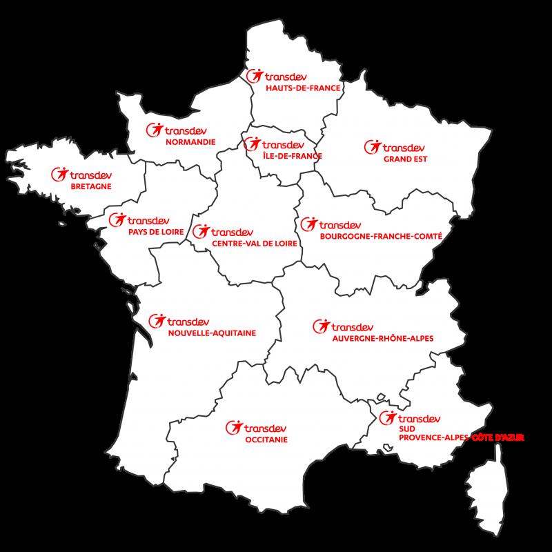 Transdev carte France découpage pôles régionaux marques logos